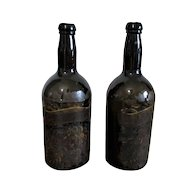 Pair Black Glass Spirit Bottles with Hand Painted Labels Antique 18th Century.