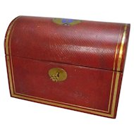Red Leather Domed Box Antique Victorian c.1880.