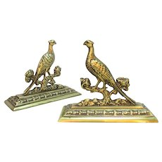 Pair of Antique Victorian Brass Pheasant Hearth Ornaments.