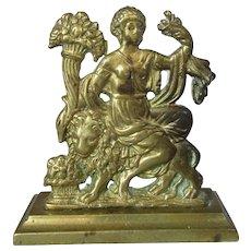 Small Antique Regency Cast Brass Classical Hearth Ornament c1810.
