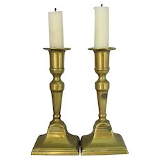Pair of English Antique George III Ejector Brass Column Candlesticks c1790.
