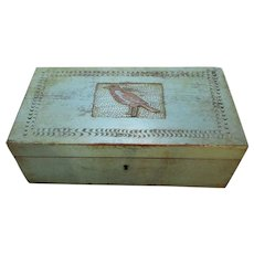 Blue Painted Wooden Box Folk Art 19th Century.