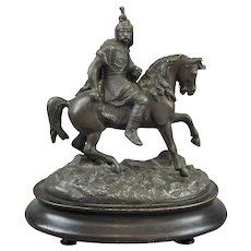 Spelter Figure Statue Of Warrior On Horseback Vintage 20th Century.