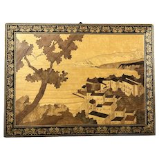 Wood Marquetry Wall Plaque Inlaid Picture Of Tunbridge Vintage Art Deco c1930
