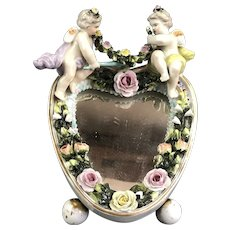 Porcelain Cherub Heart Shaped Mirror Vintage