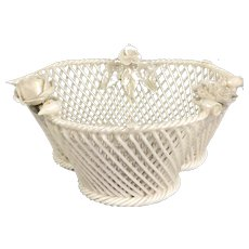 Irish Belleek Porcelain Openwork Basket Vintage