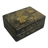 Japanese Papier Mache Hand Painted Lacquered Gilded Box Victorian Antique c1900