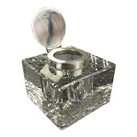 Sterling Silver Top Cut Crystal Art Deco Inkwell Antique Edwardian Birmingham 1912