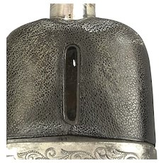 Electro Plated Britannia Metal And Leather Hip Flask Antique Victorian c1900