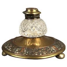 Brass Copper & Cut Glass Inkstand Antique Victorian c1900