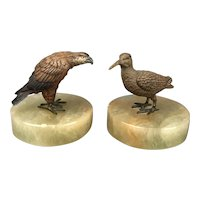 Pair Cold Painted Birds Eagle & Woodcock on Onyx Stand Art Deco Vintage c1930