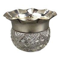 Sterling Silver Cut Glass Vase Antique Victorian Brimingham c1910