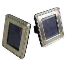 Pair of Small 900 Silver Photograph Frames Vintage c1980
