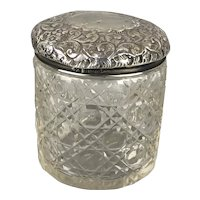 Sterling Silver Top Cut Glass Jar Antique Victorian Birmingham c1900