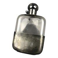 Electro Plated Britannia Metal Hip Flask Antique Victorian c1900