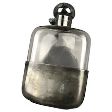 Electro Plated Britannia Metal Hip Flask Antique Victorian c1900