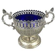 WMF Silver Plate Bon Bon Cup Blue Glass Antique Art Nouveau c1920