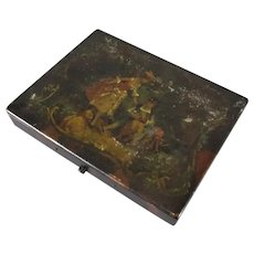 Small Hand Decorated Artists Painting Box Antique c1890
