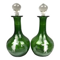 Pair Of Bohemian Green Glass Mary Gregory Style Decanters Applied Enamelled Decoration Vintage Art Deco c1930