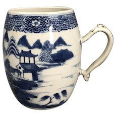Chinese Blue White Jug Mug With Classical Landscape Victorian Antique c1880