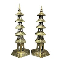 Pair Of Bronze Five Tier Pagodas Antique Victorian c1900