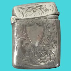 Sterling Silver Vesta Case Antique Victorian Birmingham 1896