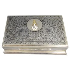 Large Nielloware Box Thailand Sterling Silver c1920