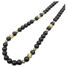 14k Gold & Obsidian Bead Necklace Vintage 1970s