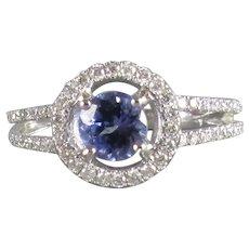 18k White Gold Tanzanite and Diamond Ring Vintage c1980