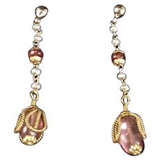 9k Gold Tourmaline and Seed Pearl Earrings Antique Victorian c1890