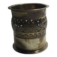 Pierced Silver Plate Condiment Jar Candle Holder Vintage Art Deco c1920
