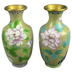 Japanese Cloisonne Pair Of Vases Vintage 20th Century.