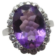 Large Amethyst Faux Diamond Sterling Silver Ring Vintage c1980.