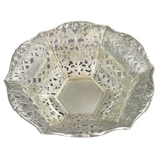 Persian Fretwork Bowl Sterling Silver Victorian c1880