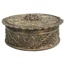 Persian Filigree Pomander Box Silver c1920
