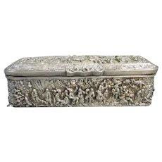 Decorative Sterling Silver Trinket Box Dutch Victorian 1860s