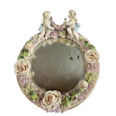 Porcelain Cherub Oval Shaped Mirror Vintage