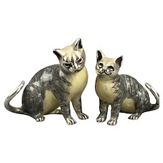 Saturno Sterling Silver and Enamel Pair of Cat Figures Vintage