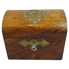 Mahogany Domed Top Tea Caddy Antique Victorian c1890