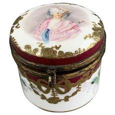Bloor Derby Porcelain Trinket or Pill Box Antique Victorian c1840
