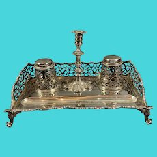 Silver Plate Ink Well Standish Desk Antique Victorian c1880