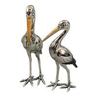 Sterling Silver And Enamel Pair Of Storks Figurine By Saturno Vintage c1980