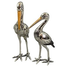 Sterling Silver And Enamel Pair Of Storks Figurine By Saturno Vintage c1980