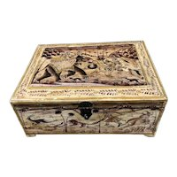 Indian Wooden Painted Box With Secret Panel Antique Victorian c1850