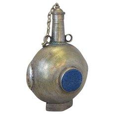 Small Afghan White Metal  & Lapis Lazuli Powder Flask Vintage.