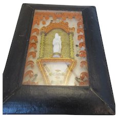 Small French Framed Cloister Work Reliquary Antique 19th Century.