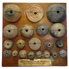Collection of Mounted Aztec Spindle Whorls Antique 10th-16th Century.