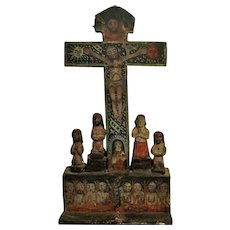 Mexican Colonial Painted 'Cross of Souls' Antique 19th Century.