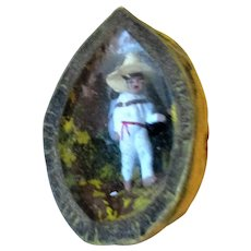 Miniature Mexican Jalisco Walking Man Diorama in a Walnut Shell Vintage c1950s.