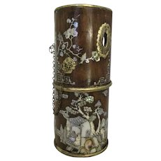 Bamboo & Mother Of Pearl Opium Pipe Antique c.1900.